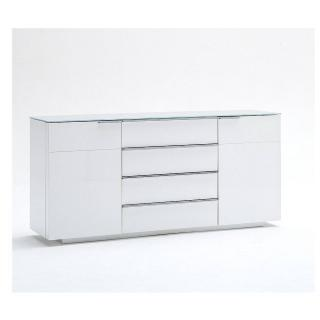 Buffet CAMBRIDGE blanc laqué brillant plateau en verre blanc brillant