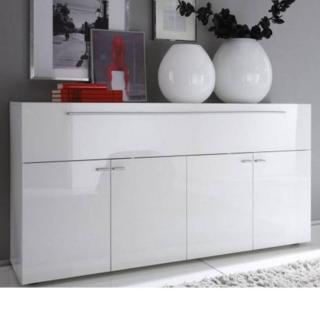 Buffet design PRIMERA blanc brillant 5 portes