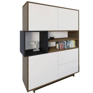 Buffet design scandinave DAINN 3 portes 2 tiroirs noyer et blanc mat