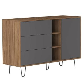 Buffet design scandinave LACKBERG 1 porte 3 tiroirs noyer