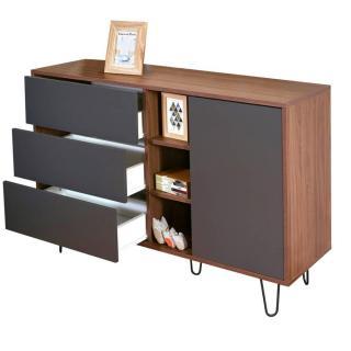 buffets bas meubles et rangements buffet design scandinave lackberg 1 porte 3 tiroirs noyer. Black Bedroom Furniture Sets. Home Design Ideas