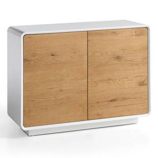 Buffet design scandinave TALLY 2 portes laqué blanc mat et chêne massif