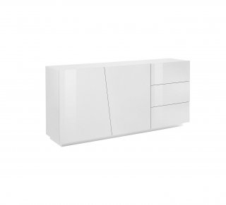 Buffet design VEGA 180 cm Finition blanc laqué brillant 3 tiroirs 2 portes