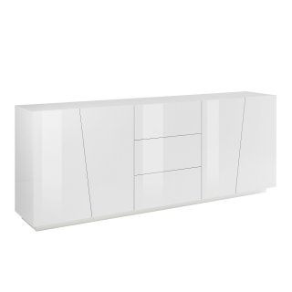 Buffet design VEGA XL 220 cm Finition blanc laqué brillant 3 tiroirs 4 portes