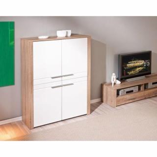 buffets meubles et rangements buffet haut absoluto ch ne blanc de sonoma et blanc 4 portes. Black Bedroom Furniture Sets. Home Design Ideas