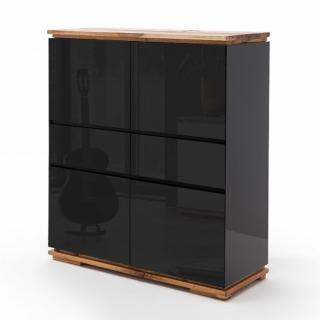 Buffet haut CHARLY 4 portes 2 tiroirs laqué noir brillant socle et plateau chêne noueux huilé