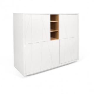 Buffet haut DELF style scandinave 4 portes 3 niches blanc gravé et chêne
