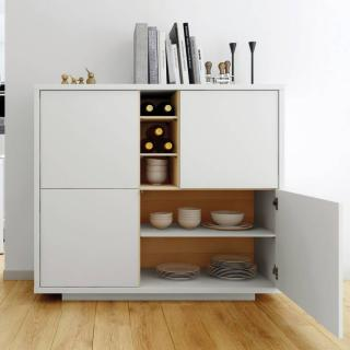 buffets meubles et rangements buffet haut delf style scandinave 4 portes 3 niches blanc et. Black Bedroom Furniture Sets. Home Design Ideas