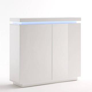 Buffet haut OCEAN laqué blanc brillant 2 portes LED blanc inclus