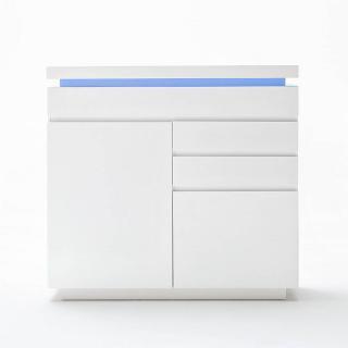Buffet haut OCEAN laqué blanc brillant 2 portes 3 tiroirs LED blanc inclus