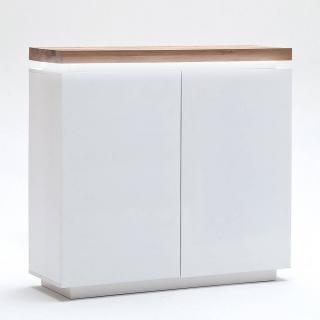 Buffet haut ROMINA 2 portes laqué blanc mat plateau chêne noueux huilé