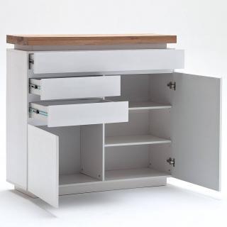Buffet haut ROMINA 2 portes 3 tiroirs laqué blanc mat plateau chêne noueux huilé