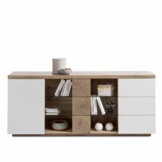 Buffet HERNING 180 cm laqué blanc mat et décor chêne noueux 2 portes 3 tiroirs