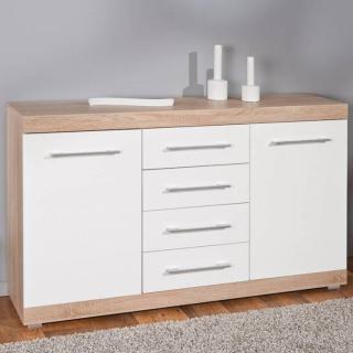 Buffet LUBLIN chêne blanc 2 portes 4 tiroirs