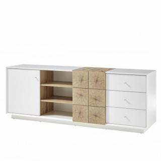 Buffet MARKUS 179 cm laqué blanc mat et décor chêne 2 portes 3 tiroirs 3 niches