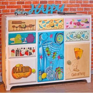 Buffet MEDLEY bi-color 6 tiroirs 3 portes en bois de manguier
