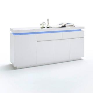Buffet OCEAN laqué blanc brillant 4 portes 2 tiroirs LED inclus