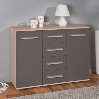 Buffet  STETTIN gris graphite et chêne blanc de sonoma 2 portes 4 tiroirs