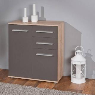 Buffet  STETTIN gris graphite et chêne blanc de sonoma 2 portes 2 tiroirs