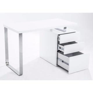 Bureau MASDROVIA 160 x 60 blanc brillant avec caisson 3 tiroirs