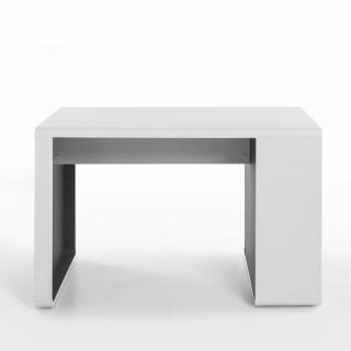 Bureau TULLY 119 x 59 blanc avec casier latéral 4 niches