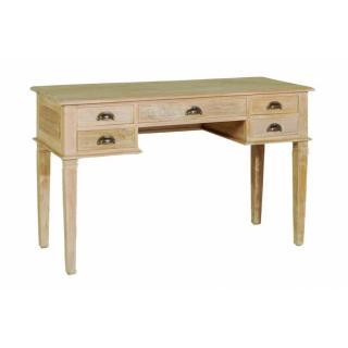 Bureau API 5 tiroirs en teck blanchi style colonial
