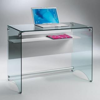 Bureau CHARLI design en verre avec une étagère en bois stratifié gris.
