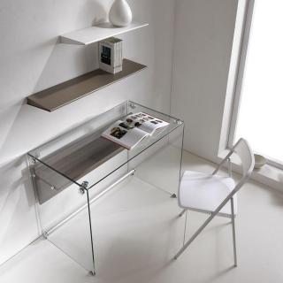 Bureau CHARLI design en verre avec une étagère en bois stratifié orme