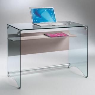 Bureau CHARLI design en verre avec une étagère en bois stratifié taupe.
