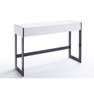 Bureau secretaire DANI blanc mat 125 x 40 pied metal noir