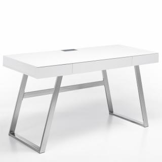 Bureau AKEN laqué blanc mat 3 tiroirs piétement métal brossé