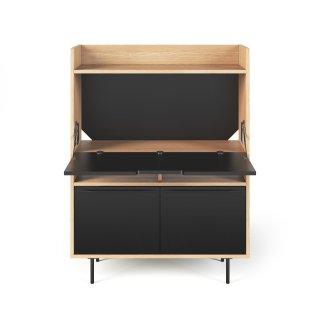 Bureau compact LIME en bois de chêne et noir