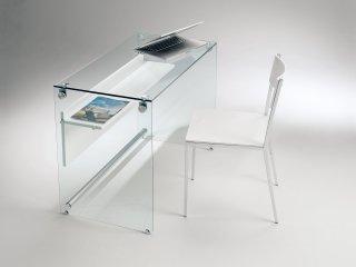 Bureau porte-ordinateur Napoli 1 étagère laminé blanc opaque piètement verre transparent