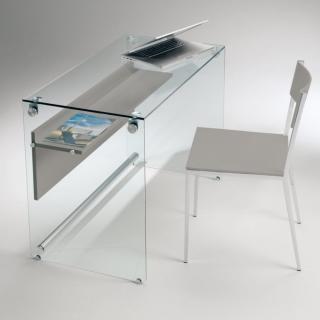 Bureau porte-ordinateur Napoli 1 étagère laminé gris taupe opaque piètement verre transparent