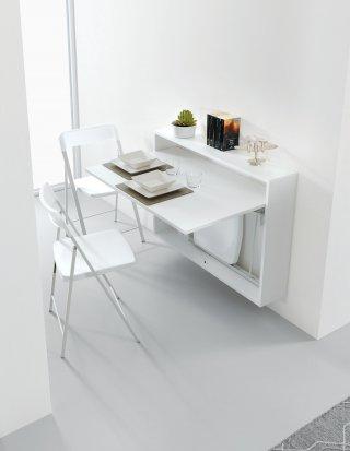 Bureau/Table Extensible mural blanc opaque avec 3 chaises intégrées blanche