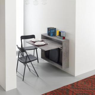 Bureau/Table Extensible mural Gris Béton avec 3 chaises intégrées
