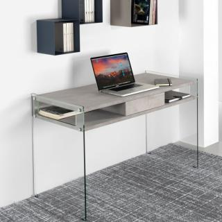 Bureau porte-ordinateur VERONA 1 tiroir 2 casiers laminé gris ciment piètement verre transparent