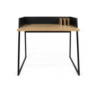 Bureau design TEMAHOME VOLGA plateau chêne avec piétement noir