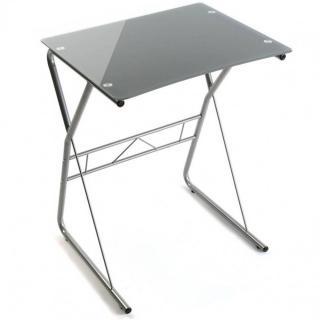 Bureau DESKTOWN compact plateau en verre gris
