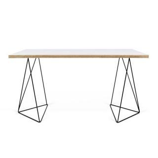 Bureau  design FLOW TEMAHOME 140 x 75 blanc mat/bois et piétement noir