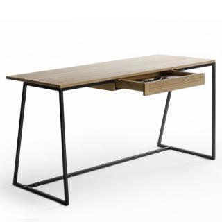 Bureau design HORIZON 140 x 60 plaquage chêne avec piétement métal noir