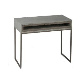 Table à écrire INDUSTRY cérusé gris avec 1 tiroir