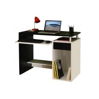 GEEK Bureau informatique triple plateaux noir & blanc