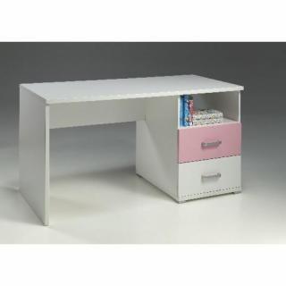 Bureau ORION 2 tiroirs blanc et rose