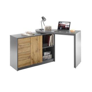 Bureau modulable MARKUS laqué gris mat et décor chêne
