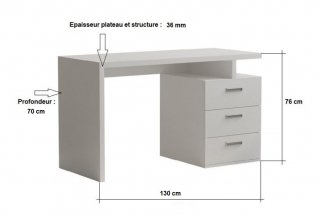 Bureau RUBY 3 tiroirs blanc mat 130 x 70 cm