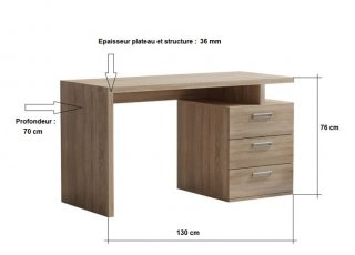 Bureau RUBY 3 tiroirs chêne 130 x 70 cm