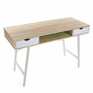 Bureau design TAZLA plateau bois piétement blanc