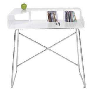 Petit bureau STUDIO laqué blanc brillant, pieds chromés