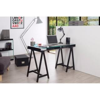 bureaux meubles et rangements bureau study noir plateaux en verre tremp inside75. Black Bedroom Furniture Sets. Home Design Ideas